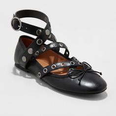 Women's Wide Width Nessa Strappy Ballet Flats With Studs - Mossimo Supply Co. Black 9.5W, Size: 9.5 Wide