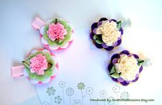 Flower Hair Clips  Set of 2  Princess by Sweetlittleblossoms