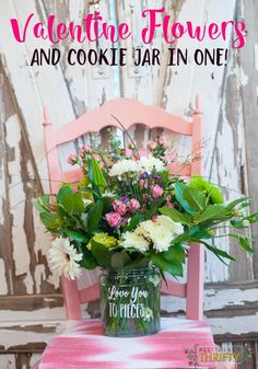 Valentines Gifts for Her: Flowers and Cookie Jar in ONE