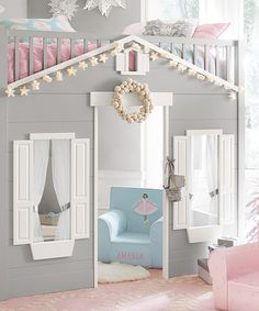 Play House Loft Bed Play House Loft Bed: Bring playtime and bedtime together with this loft bed. The safely railed twin-sized bed sits atop a shuttered house, complete with open windows and a doorway. They'll love climbing down the ladder to begin playtime right away.