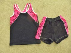Work Out Clothes Shorts & Top Peace Sign Black & Hot Pink Size Youth L Adult XS #JB