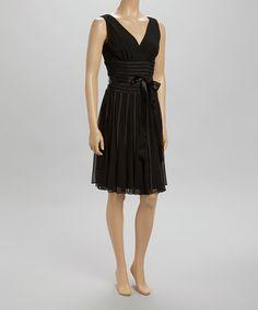 Look at this #zulilyfind! SL Fashions Black Pleated Surplice Dress by SL Fashions #zulilyfinds