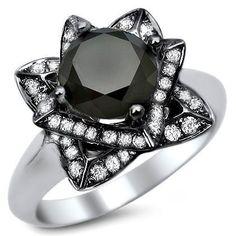 #blackdiamond 2.55ct Black Round Diamond Lotus Flower Engagement Ring 14K White Black Gold - See more at: http://blackdiamondgemstone.com/jewelry/rings/2-55ct-black-round-diamond-lotus-flower-engagement-ring-14k-white-black-gold/