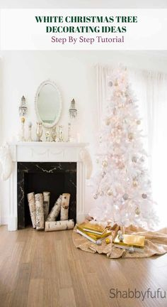 If you have a white Christmas tree it can look bland unless you decorate it. A step by step guide on how to get the designer look! If you have a white Christmas tr Shabby Chic Christmas Decorations, Farmhouse Christmas Decor, Holiday Decorations, White Flocked Christmas Tree, Christmas Lights, French Country Christmas, Christmas Inspiration, Christmas Ideas, Christmas Time