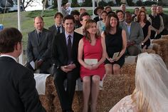 The guests sitting pretty  Love that the friendship between Jim and Pam with Dwight and Angela has come full circle so completely that Jim and Pam are not only at the wedding, they are in the front row and from the smiles you can see how thrilled they are for them.  I also think it's beautiful that it's Jim that Dwight leaned on when trying to decide what to do about Esther and Angela.  Jim was able to help because Jim had kinda been there befoe with Karen & Pam and he followed his own…