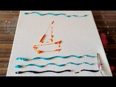 "Simple demonstration of abstract painting ""Sail boats"" on canvas using acrylic paints and palette knife from project 365 days / Day Today is the final. Pour Painting, Painting For Kids, Diy Painting, Knife Painting, Sailboat Art, Sailboat Painting, Using Acrylic Paint, Acrylic Art, Project 365"