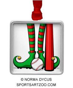 Baseball Christmas Elf Feet Metal Ornament by #SportsArtZoo #baseball #ornament #Christmas