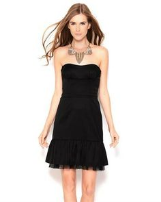 Title: BCBGMAXAZRIA Strapless Satin Dress  Brand Name: BCBGMAXAZRIA  Item Type: Apparel  Item: Dress  Made In: Imported  Gender: Women  Condition: Brand New  Material: Shell: 72% Acetate 24% Nylon 4% Spandex, Lining: 97% Polyester 3% Spandex, Contrast: 100% Polyester  Neck Type: Sweetheart neck  Sleeves: Strapless  Care Instructions: Dry clean  Fit: Classic Fit  Satin material Woven Rubber grips on bust Ruffle hem Zipper with hook and eye closure on back Mesh lining Soft, comfortable fit