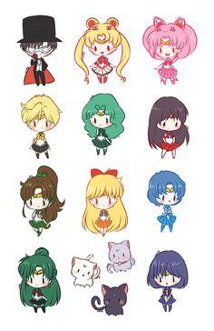 Sailor Moon Stickers by Cosmic Moon Dust. Sailor Moon Fan Art, Sailor Moon Character, Sailor Moon Crystal, Sailor Moom, Sailor Saturn, Anime Disney, Sailor Moon Wallpaper, Cute Kawaii Drawings, Sailor Scouts