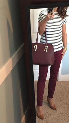 Black & white stripe top, burgundy skinny pants, camel heels, burgundy purse burgundy & gold Source by liveralz jeans outfit Casual Work Outfits, Professional Outfits, Cute Outfits, Fall Work Outfits, Business Casual Outfits For Women, Business Outfits, Burgundy Pants Outfit, Skinny Pants Outfits, Maroon Outfit