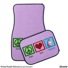 Cute Purple Unicorn Car Mat. Peace Love Unicorns gift