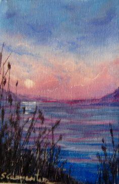 A Quiet Sunset Original Oil Painting   4x6 by JellyBeanJump, $20.00