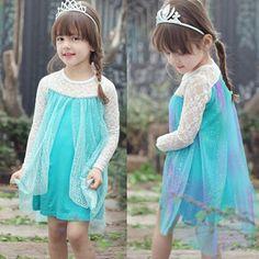 Kids Disney Princess Frozen Queen Elsa Tulle Dress Cosplay Costume