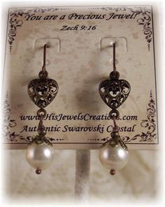 New Swarovski Cream Pearl Heart Vintage by HisJewelsCreations, $22.99