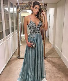 Noble Lace Beaded Prom Dress,Spaghetti Straps Evening Dress,Floor Length Tulle Prom Party Gown,Custom Made