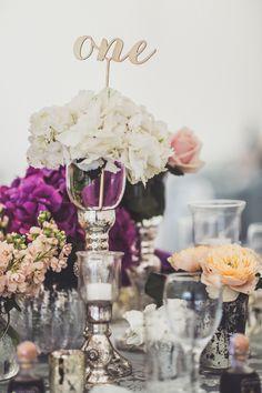Hydrangea Flower Centrepieces | Memoir Suzanne Neville Wedding Dress | Marquee Reception | Claire Penn Photography | http://www.rockmywedding.co.uk/jessica-ilka/