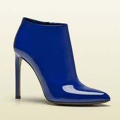 blue patent Gucci booties for Spring // Lean tailoring meets bold color in one of spring's most compelling trends. Blue Fashion, Fashion Shoes, Jimmy Choo, Christian Louboutin, Prada, Gucci Boots, Blue Boots, Chanel, Bleu Marine
