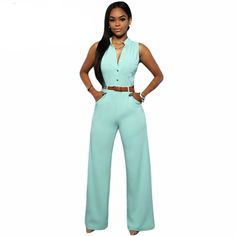 Fashion Big Women Sleeveless Maxi Overalls Belted Wide Leg Jumpsuit 7 Colors S-2XL Plus Size macacao long pant