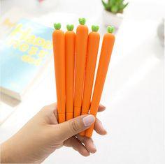 4 pcs/Lot kawaii Carrot gel pen 0.5mm black ink pens Vegetable type for kids stationery Office accessories school supplies 1671 #Affiliate