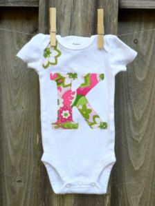 Items similar to Personalized Monogrammed Initial Onesie for Baby Girl using Fabric Applique with Pink, Green & Gold Shimmer on Etsy Toddler Girl Outfits, Kids Outfits, Baby Outfits, Toddler Girls, Posh Clothing, Girl Clothing, Cute Babies, Baby Kids, Baby Boy