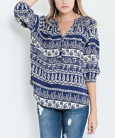 Look at this Navy Tribal Button-Front Top on #zulily today!
