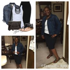 Hump day ensemble. Black skirt, white tee, jean jacket and black sling backs with black accessories.