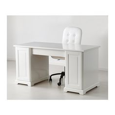 LIATORP Desk IKEA You can fit a computer in the cabinet since the shelf is adjustable. Drawer stops prevent the drawers from being pulled ou...