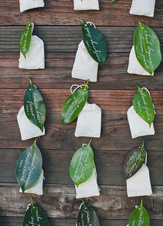 Friendly on your budget and the environment, loose leaves make for naturally beautiful escort cards.