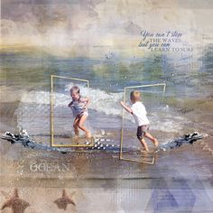 A artsy Digital scrapbook/art page from my grandchildren playing in the waves at the ocean made by clin d'oeil design. It's made with the beautiful beyond the ocean collection a great kit to scrap your summer vacation layouts. I used the templates and the photobombs and the artsy frames http://www.oscraps.com/shop/Beyond-the-Sea-Megabundle-Weekly-Templates-July-2016.html