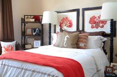 The guest bedroom is a colorful homage to the coastal town of Newport Beach. Bennett incorporated bright coral accents, nautical accessories, and other natural materials as subtle and chic references to the couple's hometown.    Floor lamps: Consignment shop  Bedding: Sferra Brothers Hotel Collection with throw pillows from Etsy  Bookshelf: Palecek