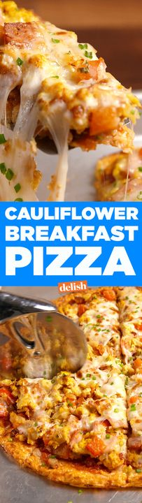 This low-carb Cauliflower Breakfast Pizza is what your weekend needs. Get the recipe from Delish.com.