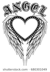 Similar Images, Stock Photos & Vectors of artistically painted red heart with angel wings gray, decorated with black smooth contour. Star Coloring Pages, Free Adult Coloring Pages, Heart With Wings Tattoo, Heart Wings, Angel Wings, Wing Tattoo Designs, Angel Tattoo Designs, Bff Tattoos, Feather Tattoos