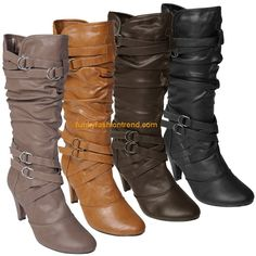 Brinley Womens Strappy Detail Slouch Boot
