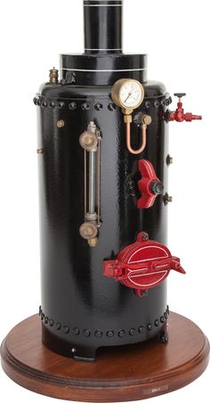 LIVE STEAM SCALE MODEL VERTICAL BOILER 29 x 18 inches (73.7 x 45.7 cm) Large and well engineered vintage live steam model boiler with pressure gauge.