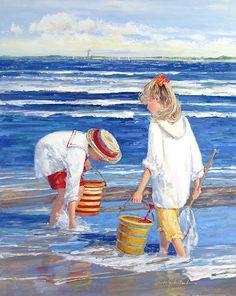 *Дети и море* Живопись Sally Swatland (Салли Сватланд): Картина
