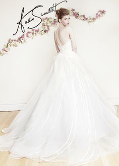 """AS69 """"Joyeuse"""" Silk Satin, Organza, and Tulle natural waist strapless ballgown. Skirt in layered waves of tulle with satin Organza piping. (back)"""