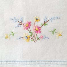 Pretty vintage pillowcase embroidery - Ouissi @ Flickr