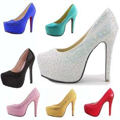 Mulheres sexy de cristal strass Glitter Diamonds saltos altos 2014 bombas de plataforma de salto alto sapatos de casamento Prom partido Frete grátis 70.57