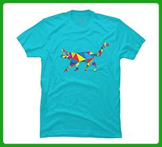 Modern Cat Men's Medium Ocean Blue Graphic T Shirt - Design By Humans - Animal shirts (*Amazon Partner-Link)