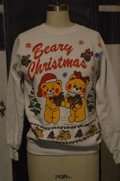 422bb4a068f Ugly Christmas Sweater Cute Teddy Bears Beary Christmas totally 80s Retro  Holiday Bears Ugly Xmas Party White