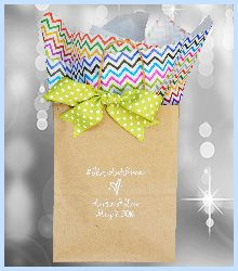 #weddingwelcomebag #whattoputinwelcomebag #weddingguestgiftbag Chevron is a popular design this year and it looks so cute paired with the polka dot ribbon.See more at www.favorsyoukeep.com or call 512.323.0600 for any questions or ordering assistence.