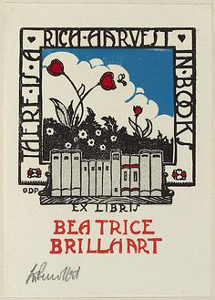 Bookplate by Australian artist George Perrottet for Beatrice Brillhart, 1932