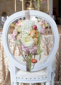 Stylish Wedding Reception Chair decorations with flowers Wedding Reception Chairs, Wedding Seating, Mod Wedding, Wedding Events, Floral Chair, Party Chairs, Wedding Chair Decorations, Bouquet, Ideas Geniales