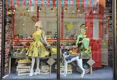 Inventive window display at Harvey Nichols for the Queen's Diamond Jubilee June 2012