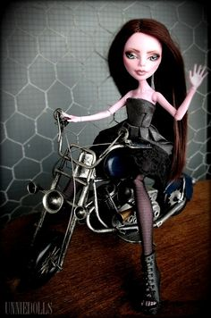 Lola - OOAK Operetta - Sexy Motorcycle Rider - Fully customized Monster High doll by UNNIEDOLLS
