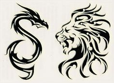 Tribal Snake And Lion Tattoo Designs