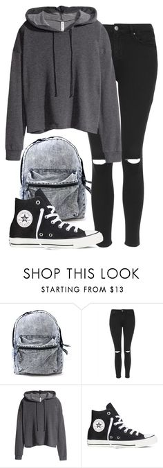 """Sans titre #249"" by sara-benhamida ❤ liked on Polyvore featuring Topshop, H&M and Converse"