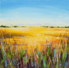 ARTFINDER: Field of Gold by Sue Rapley - This work is a one-of-a-kind Original oil on canvas painting inspired by the wonderful wheat fields of high summer glowing golden in the sunlight. Executed o...