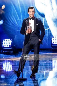 Model, influencer and award winner David Gandy live on stage at the GQ Men of the year Award 2017 show at Komische Oper on November 9, 2017 in Berlin, Germany.