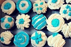 blue and white cupcakes. White Cupcakes, Blue And White, Desserts, Wedding, Food, Tailgate Desserts, Valentines Day Weddings, Meal, Deserts